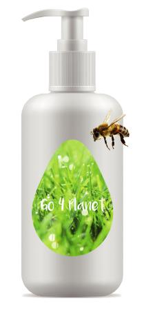 Pumpflasche mit nachhaltigem Etikett und Biene
